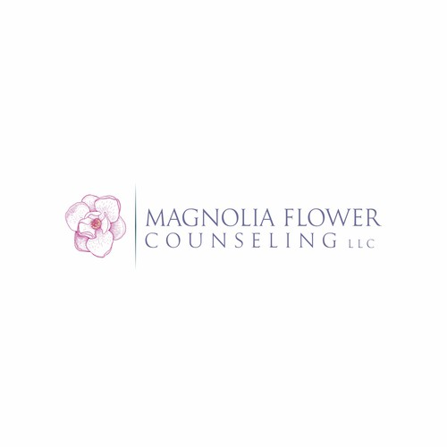 Psychotherapy logo with the title ' Magnolia Flower Counseling LLC'