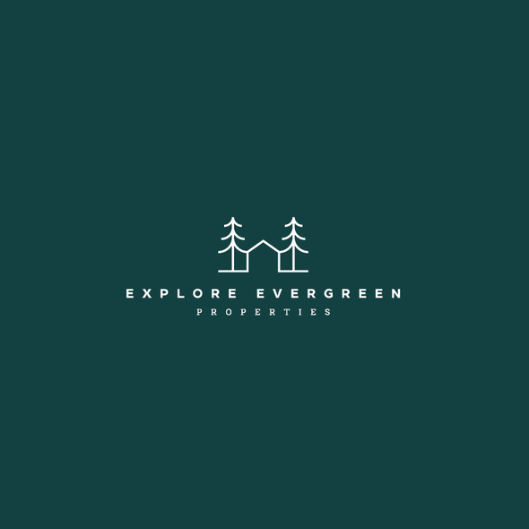 Evergreen design with the title 'Explore Evergreen Properties Logo'