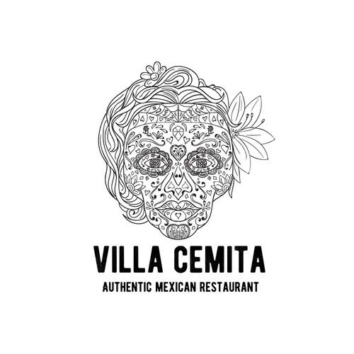 Sugar skull design with the title 'Villa Cemita'