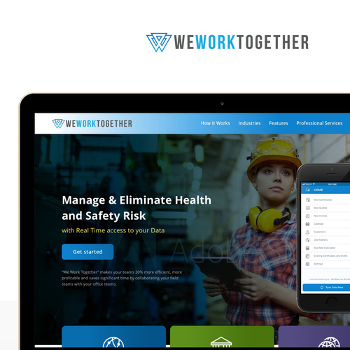 B2B website with the title 'Homepage design for WeWorkTogether'