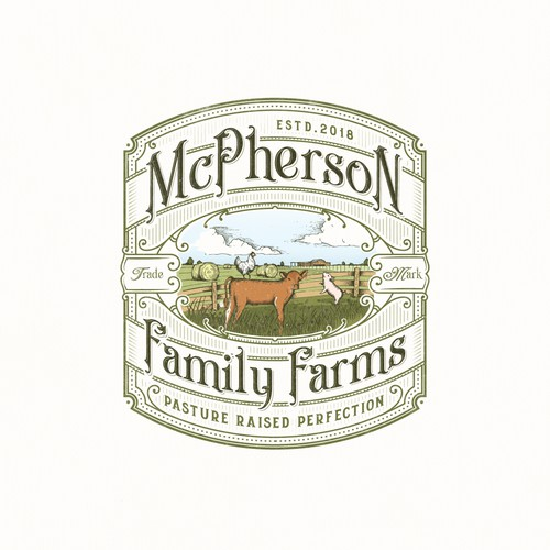 Sophisticated design with the title 'McPherson Family Farms'