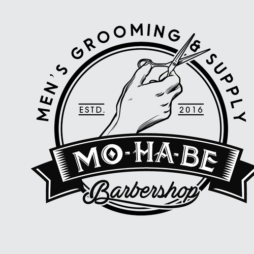 Hairstyle logo with the title 'MO-HA-BE Barbershop Logo design'