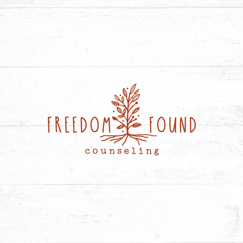 Root design with the title 'freedom found counseling'