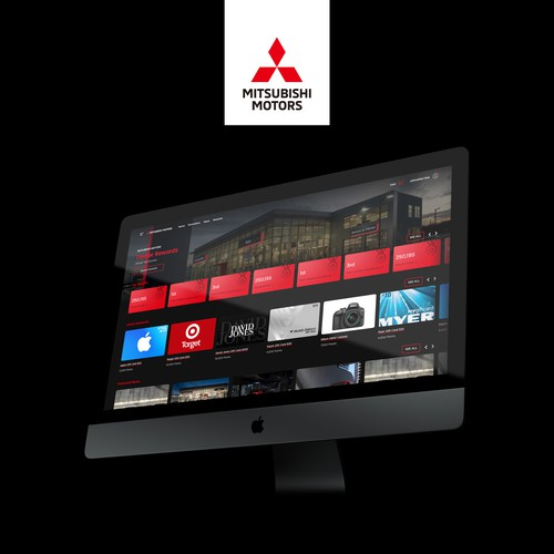 Industrial website with the title 'Webpage design for Mitsubishi Motors Rewards'