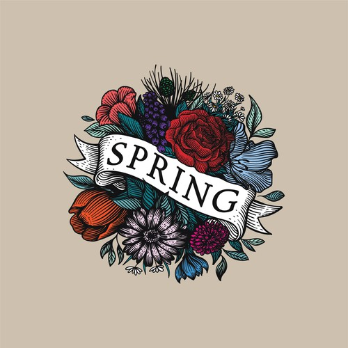 Bold logo with the title 'Burst of spring flowers logo for lifestyle products and art store.'