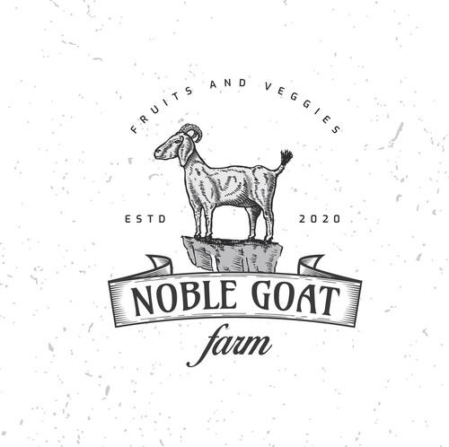 Goat farm logo with the title 'Hand drawn farm logo'