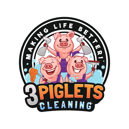 Cartoon design with the title '3 Piglets Cleaning '