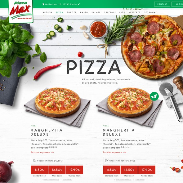 Pizza website with the title 'Pizza Max'