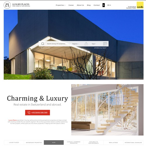 Property website with the title 'Luxury Places'