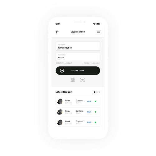 Login design with the title 'Login screen for Luxury App'