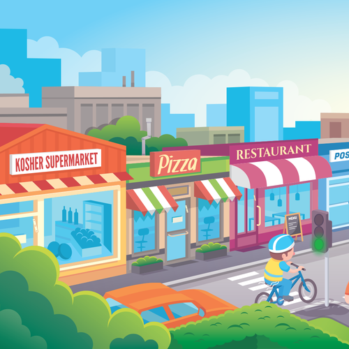 Fun illustration with the title 'Street/pedestrian safety Billboard (preview)'