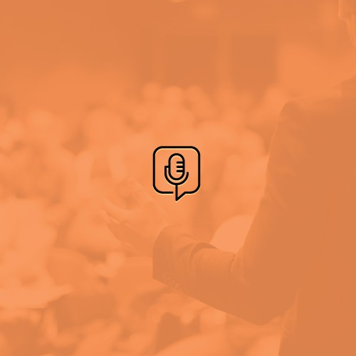 Flat logo with the title 'Minimal and simple podcast logo'