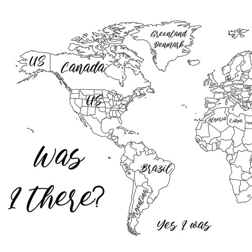 Outline artwork with the title 'World Map Wall Art / Illustration'