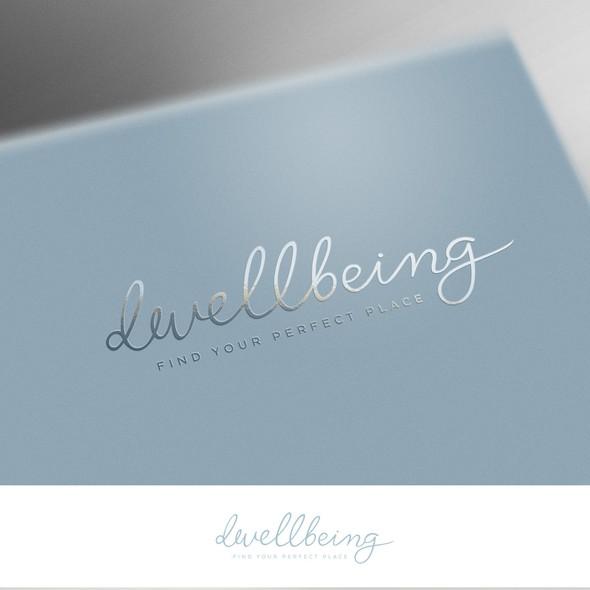 Handwritten design with the title 'Dwellbeing logo design'