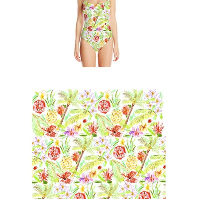 Swimwear Tropical Print  Pattern