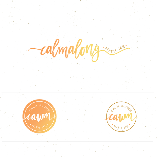 Bright logo with the title 'calm along with me'
