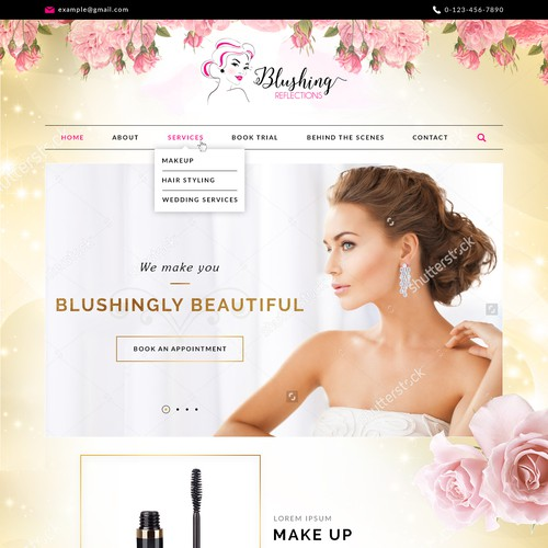 Cosmetics website with the title 'Blushingly Beautiful'