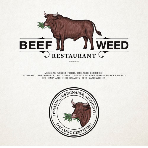 Marijuana brand with the title 'Beef+weed restaurant'