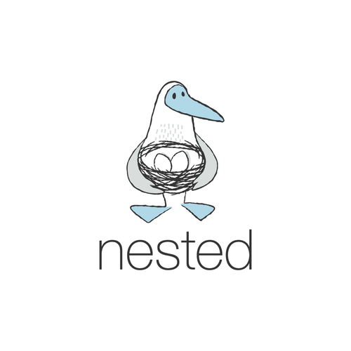 """Hand-drawn logo with the title 'Blue-Footed Booby logo for """"nested""""'"""
