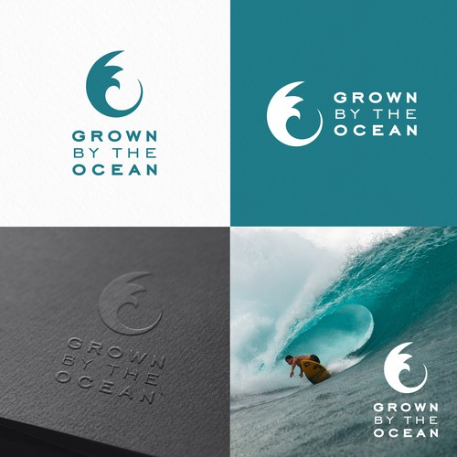 Vintage surf logo with the title 'Grown by the ocean'