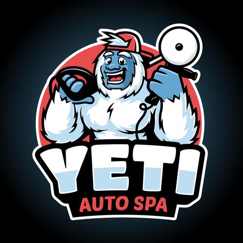 Sasquatch logo with the title 'Yeti Auto Spa logo'