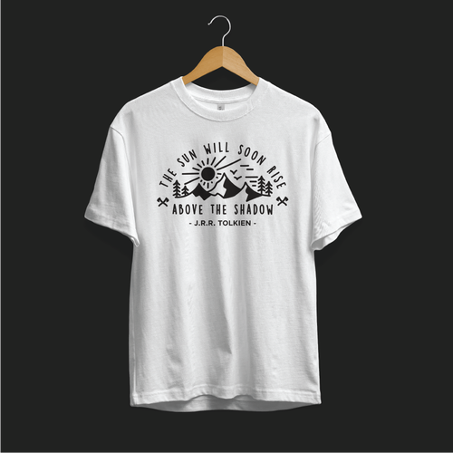 Inspirational t-shirt with the title 'The sun will soon rise above the shadow'