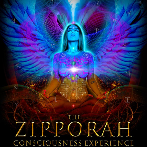 Poster illustration with the title 'Psychedelic visionary graphic for Conscious Zipporah'