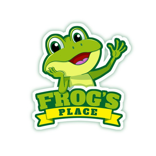 Hello design with the title 'Cartoon frog logo for a baby product brand'
