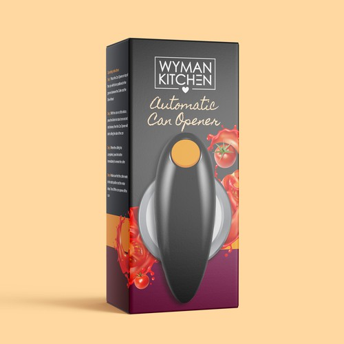 Amazon packaging with the title 'Wyman Kitchen Automatic Can Opener Packaging'