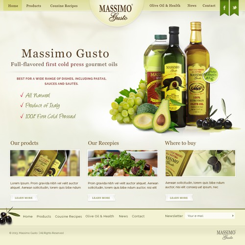 Olive design with the title 'Massimo Gusto'