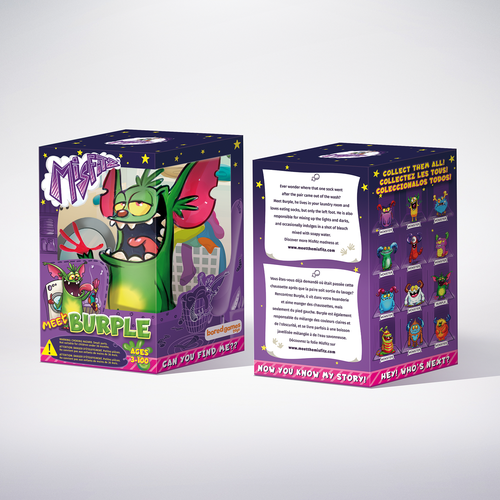 Game packaging with the title 'Packaging design for Monster toy.'