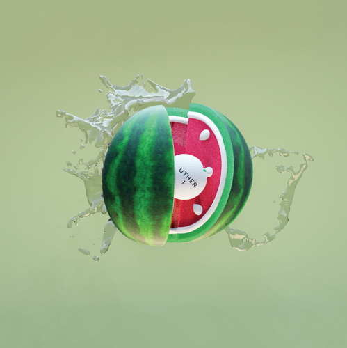 Watermelon design with the title 'Eye catching 3D Golf Ball Animation fot UTHER'