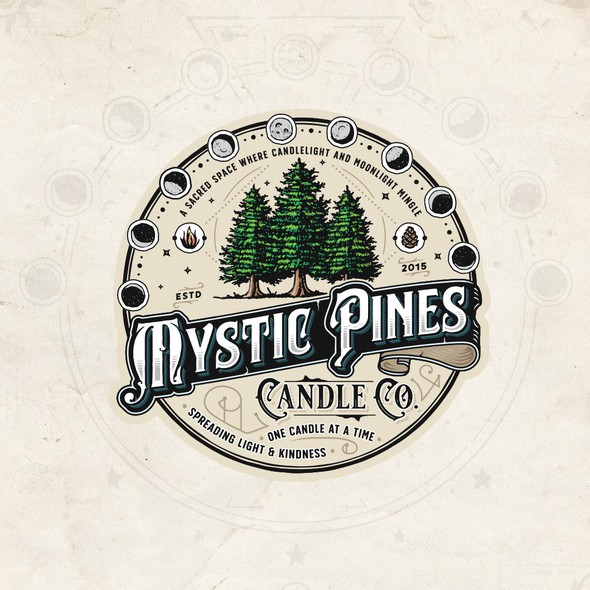 Vintage logo with the title 'Mystic Pines Candle Co.'