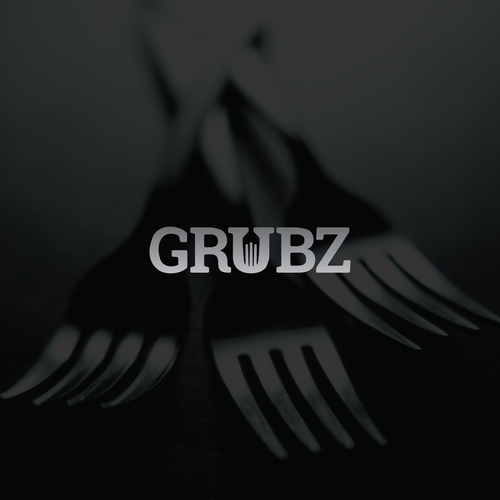 Silver logo with the title 'Grubz'