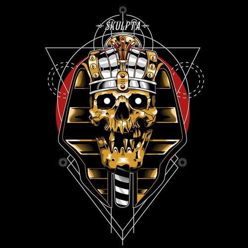 Skeleton t-shirt with the title 'pharaoh skull'