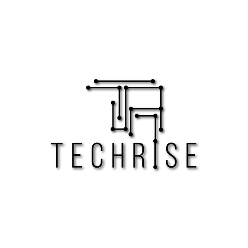 Circuit board logo with the title 'clean and modern logo design for a tech company'