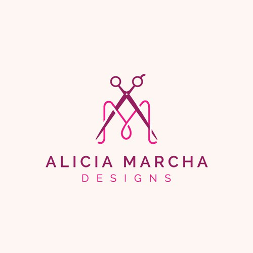 Sewing design with the title 'Bold logo concept for Alicia Marcha Designs'