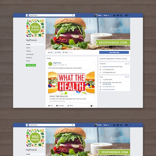 Vegan design with the title 'VegPhoenix Facebook cover and profile '
