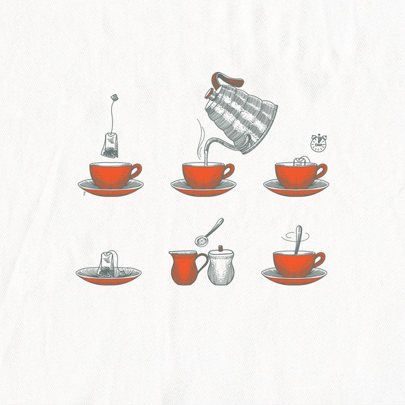 Instructions artwork with the title 'Making tea illustration for In 2 The Nest'