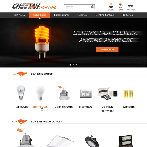 Magento website with the title 'Web design concept for Cheetah Lighting'