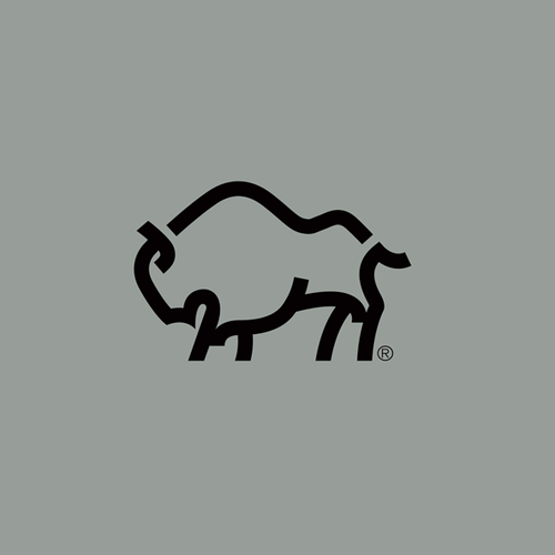 Traveling design with the title 'Bold logo concept with Bison, mountain and initial M'