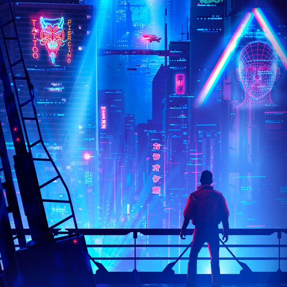 Concept art design with the title 'Cyberpunk Neo Tokyo'