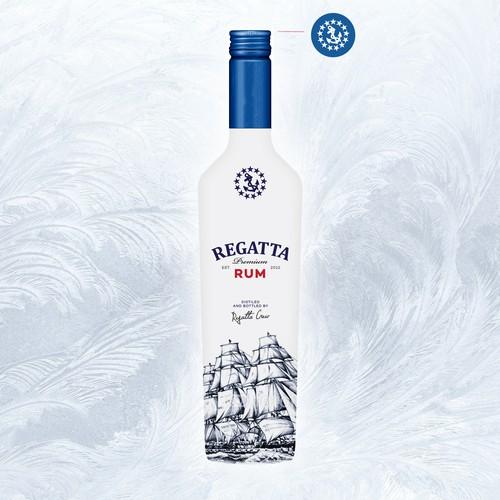 Rum label with the title 'Regatta Premium Rum'
