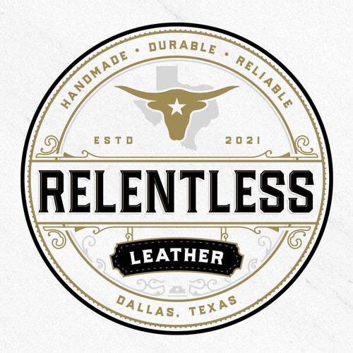 Leather logo with the title 'Relentless Leather'