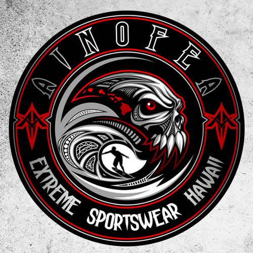 Hawaii surf logo with the title 'Ainofea'