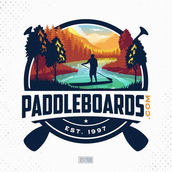 Paddle board design with the title 'PADDLEBOARDS.COM'