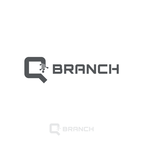 Circuit board logo with the title 'Logo Design - Q-Branch'