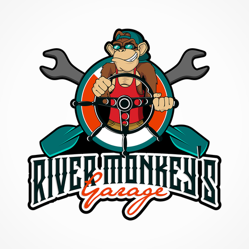 Garage door logo with the title 'create a vintage car and boat hotrod, with a modern binkin store and a monkey as the mascot'
