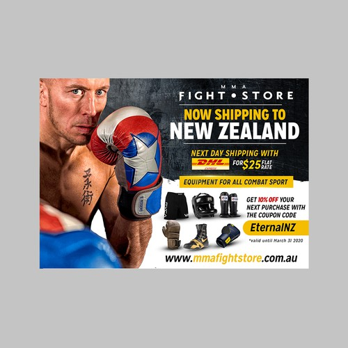 New Zealand design with the title 'Flyer for MMA Fight Store '