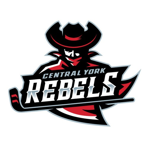 Hockey design with the title 'Central York Rebels '